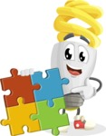 Energy Saving Light Bulb Cartoon Vector Character AKA Bulby Lightson - with Puzzle