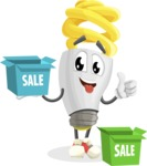 Energy Saving Light Bulb Cartoon Vector Character AKA Bulby Lightson - With Sale Boxes