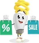Energy Saving Light Bulb Cartoon Vector Character AKA Bulby Lightson - With Shopping Bags