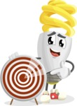 Energy Saving Light Bulb Cartoon Vector Character AKA Bulby Lightson - With Target