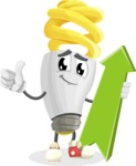 Energy Saving Light Bulb Cartoon Vector Character AKA Bulby Lightson - with Up arrow