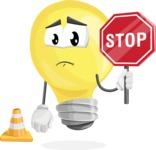 Light Bulb Cartoon Vector Character - as a Construction worker