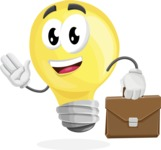 Light Bulb Cartoon Vector Character - Being Businessman with Briefcase