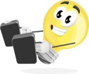 Light Bulb Cartoon Vector Character - Being Bussy with Briefcases