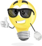 Light Bulb Cartoon Vector Character - Being Cool with Sunglasses