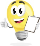 Light Bulb Cartoon Vector Character - Being Happy and Showing a Notepad
