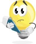 Light Bulb Cartoon Vector Character - Being Sad Holding a Notepad