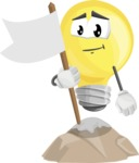 Light Bulb Cartoon Vector Character - Being Successful on Top