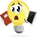 Light Bulb Cartoon Vector Character - Choosing between Book and Tablet