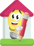 Light Bulb Cartoon Vector Character - Drawing with Pencil Illustration