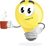 Light Bulb Cartoon Vector Character - Drinking Cup of Coffee