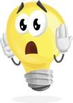 Light Bulb Cartoon Vector Character - Feeling Confused