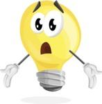 Light Bulb Cartoon Vector Character - Feeling Lost with Sad Face