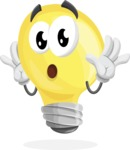 Light Bulb Cartoon Vector Character - Feeling Shocked