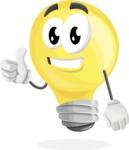Light Bulb Cartoon Vector Character - Giving Thumbs Up