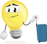 Light Bulb Cartoon Vector Character - Going to vacation with a Suitcase
