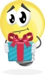 Light Bulb Cartoon Vector Character - Holding a Gift
