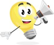 Light Bulb Cartoon Vector Character - Holding a Loudspeaker
