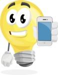 Light Bulb Cartoon Vector Character - Holding a Mobile Phone