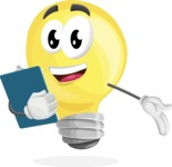 Light Bulb Cartoon Vector Character - Holding a Notepad