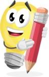 Light Bulb Cartoon Vector Character - Holding a Pencil