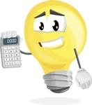 Light Bulb Cartoon Vector Character - Holding Calculator