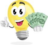 Light Bulb Cartoon Vector Character - Holding Cash Money Banknotes