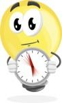 Light Bulb Cartoon Vector Character - Holding clock
