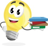 Light Bulb Cartoon Vector Character - Holding Education Books