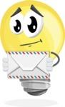 Light Bulb Cartoon Vector Character - Holding Mail Envelope