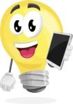 Light Bulb Cartoon Vector Character - Holding Tablet
