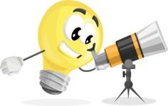 Light Bulb Cartoon Vector Character - Looking through telescope