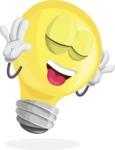 Light Bulb Cartoon Vector Character - Making a Funny Face