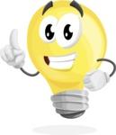 Light Bulb Cartoon Vector Character - Making a Point