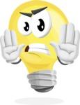 Light Bulb Cartoon Vector Character - Making stop gesture