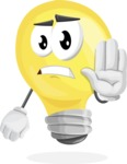 Light Bulb Cartoon Vector Character - Making stop with a hand