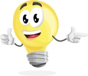Light Bulb Cartoon Vector Character - Pointing and Smiling