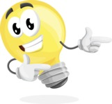 Light Bulb Cartoon Vector Character - Pointing with Hands