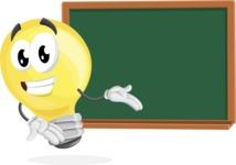 Light Bulb Cartoon Vector Character - Presenting on Blackboard