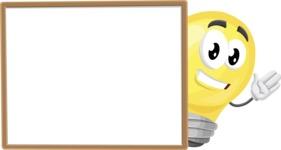 Light Bulb Cartoon Vector Character - Presenting on Blank Whiteboard Template