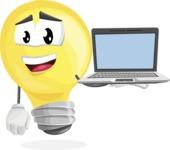 Light Bulb Cartoon Vector Character - Presenting on Laptop