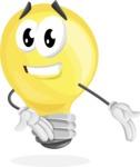 Light Bulb Cartoon Vector Character - Presenting