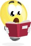 Light Bulb Cartoon Vector Character - Reading a Book