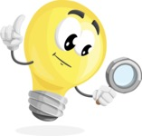 Light Bulb Cartoon Vector Character - Searching with magnifying glass