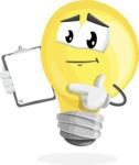 Light Bulb Cartoon Vector Character - Showing a Notepad