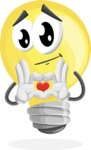 Light Bulb Cartoon Vector Character - Showing Love with Heart