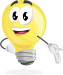 Light Bulb Cartoon Vector Character - Showing with a Hand