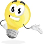 Light Bulb Cartoon Vector Character - Showing with a Smile