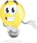 Light Bulb Cartoon Vector Character - Showing with Both Hands