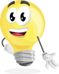 Light Bulb Cartoon Vector Character - Smiling